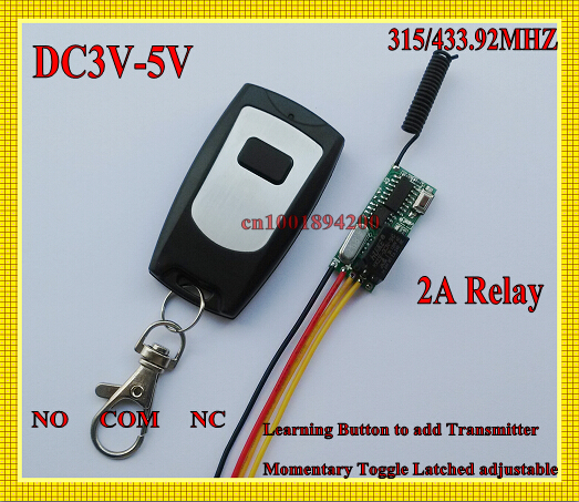 DC 3V-5V 1 CH 2A Relay Receiver 3.7V 4.5V 5V Mini Remote Control Switch Micro Door Button Remote NO COM NC Normally Open Close high sensitivity small remote relay switch dc 3 5v 12v mini receiver with transmitter normally open close wireless switch top