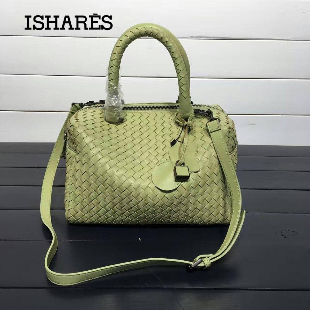 ISHARES sheepskin woven  handbags fashion designer genuine leather zipper totes