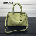 ISHARES sheepskin woven  handbags fashion designer genuine leather zipper totes large capacity lambskin crossbody bags IS323772