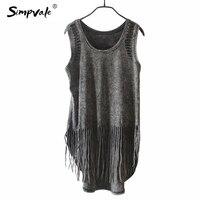 2015 Black Crochet Tank Tops Women Summer Fashion Sexy Tassel Vintage Hollow Out Hole Sleeveless Vest