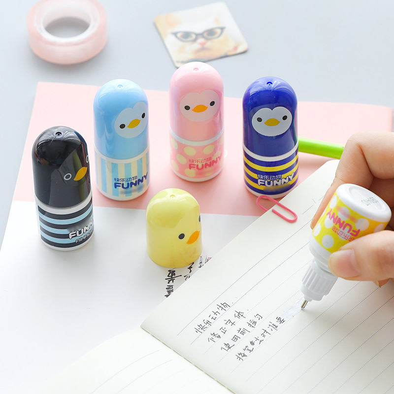 1Pc Kawaii Plastic Correction Fluid Corrector Tape Creative Novelty Chick Correction Tape Office School Supplies Cute Stationery