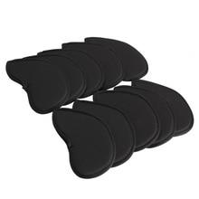 10Pcs Golf Iron Head Covers Iron Putter Protective Black Window Golf Club Iron Head Protector Golf Accessories