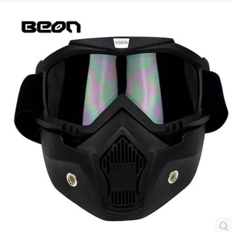 Livraison gratuite BEON casque visage ouvert masque amovible masque masque/filtre de bouche pour casque vintage ou demi-casque de moto