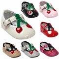 Nova Marca Adorável Straberry fruit Glitter Criança Primeira Walkers Pu Patente couro sapatos Flats Vestido de Bebê Princesa Sapatos de Bebê
