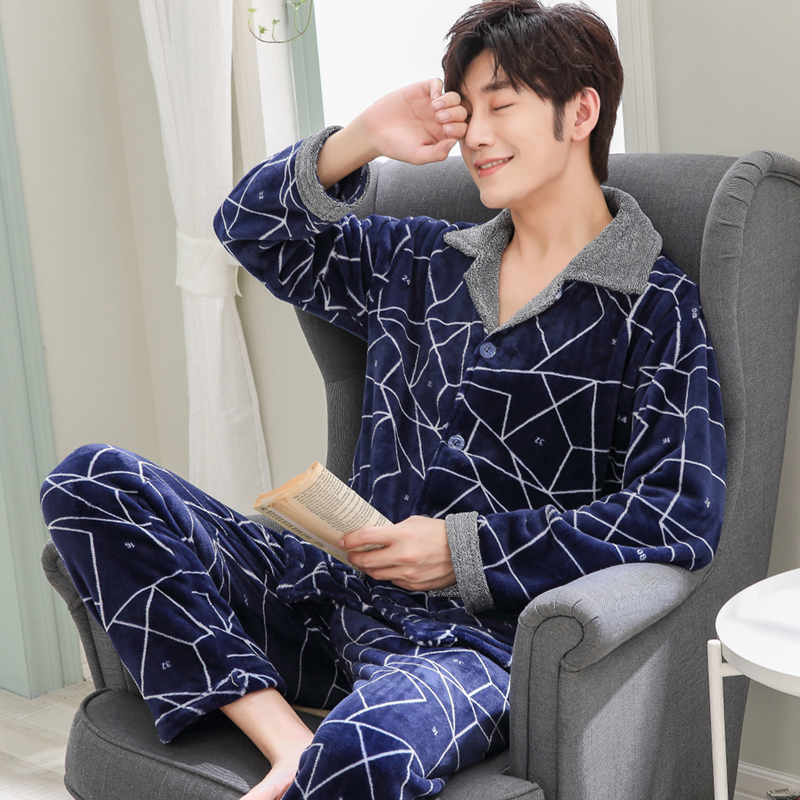 New Winter Autumn Thick Coral Fleece Men Warm Pajamas Sets Of Sleep Tops & Shorts Flannel Sleepwear Male Thermal Home Clothing
