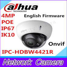 2015 Nueva Dahua IPC-HDBW4421R 4MP DH-IPC-HDBW4421R Domo IP IP66 A Prueba de agua, IK10, PoE Onvif Lente Fija con POE