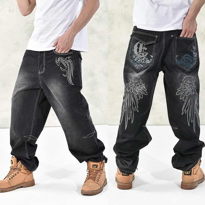 HEIßE Neue 2019 Große Größe 30-44 46 Jeans Mode Lose Große Taschen Hip-Hop Skateboard Casual Männer Denim Blau & schwarz Design Marke