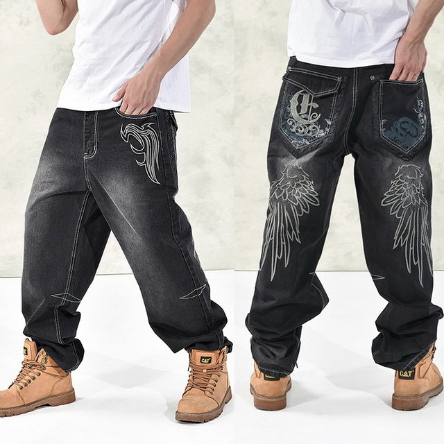 HOT New 2019 Large Size 30-44 46 Jeans Fashion Loose Big Pockets Hip-Hop Skateboard Casual Men Denim Blue & Black Design Brand 4