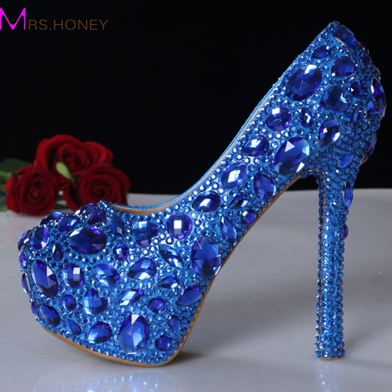 New Arrival Blue Rhinestone Crystal Wedding Shoes Graduation Party Prom Shoes Nightclub Evening Pumps Bridal High Heels sweet girls pink rhinestone and ivory pearls diamond wedding high heels shoes graduation ceremony party pumps drop shipment