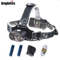 Bright 3 Modes Waterproof 18650 Cree Xml T6 Led Headlamp 2 T6 LEDS USB Rechargeable Headlight