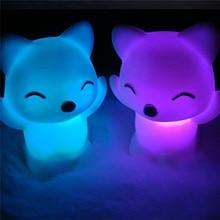7 Changing Colors switch 3d led night light led night light kids bedside lamp luminaria de mesa Lovely Fox Shape 30DC17