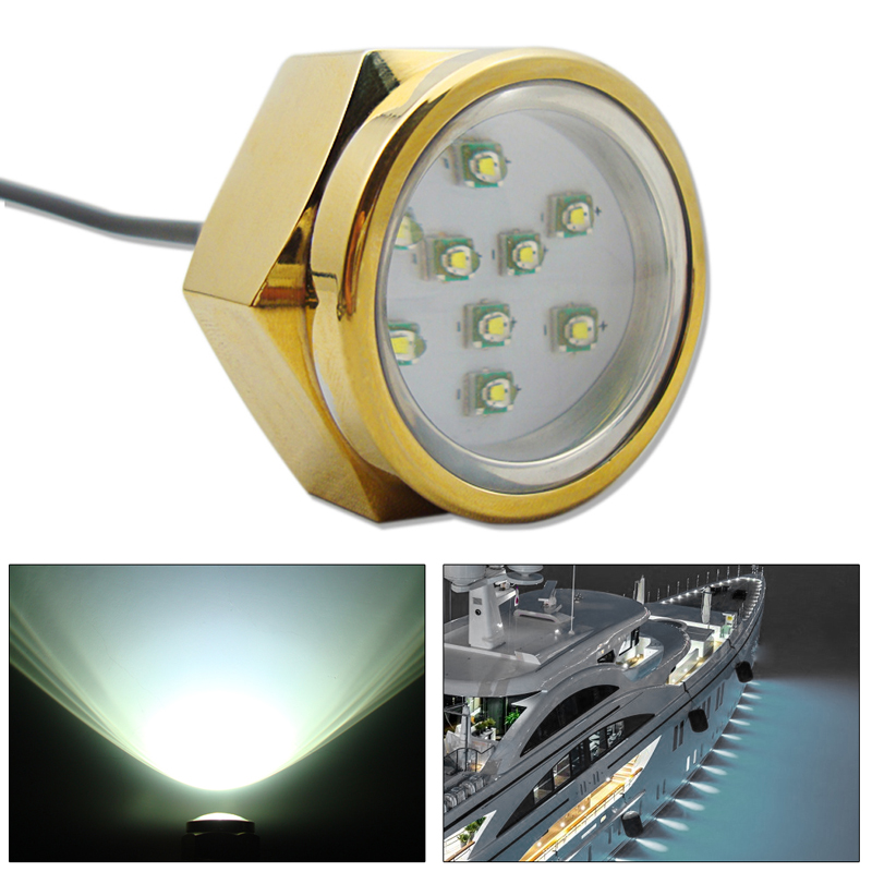 27W 9 LED Boat Drain Plug Light Anti-corrsion IP68 Waterproof Underwater Boat Marine Lamp White Light ip68 blue white boat marine ship rv waterproof 12v led courtesy light lamp for boats truck car