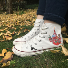 Wen High Top Canvas Shoes Design Colored Russia Saint Basil's Cathedral White Sneakers for Christmas Gifts