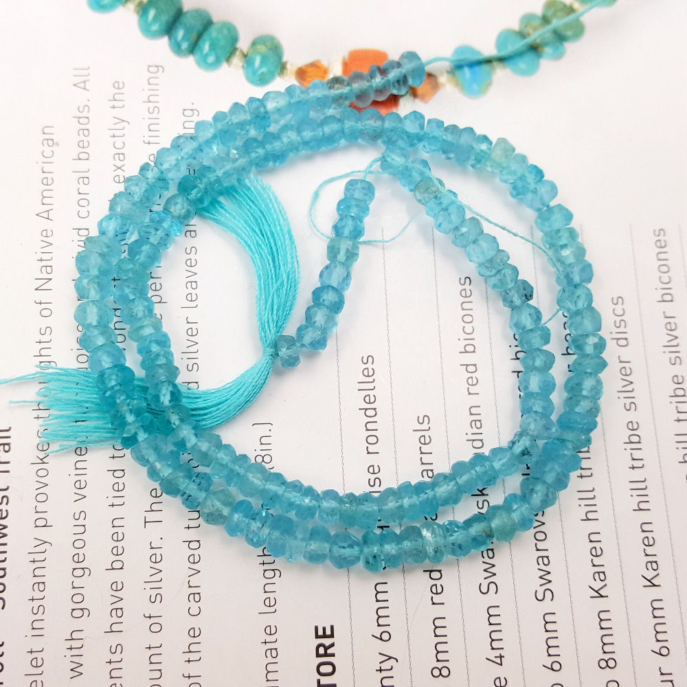 Lii Ji Natural Gemstone Faceted Roudell Apatite Beads DIY Jewelry Making Necklace Bracelet Approx 33cm lii ji natural gemstone charoite bracelet approx 12x20x7mm for women fine jewelry