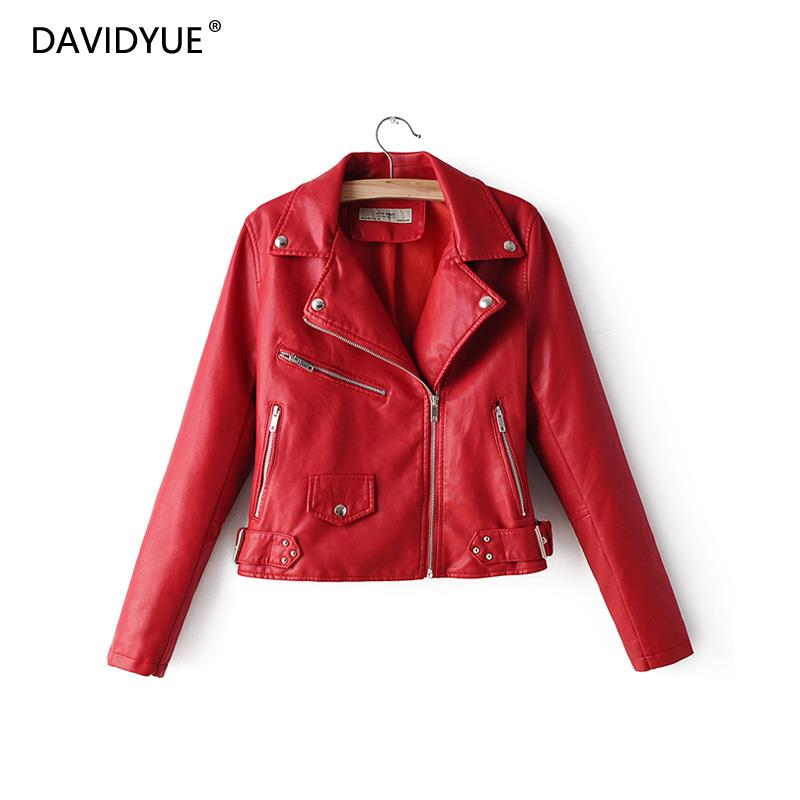 Red   leather   jacket women turn down collar zipper coat long sleeve casual faux   leather   riverdale black biker jackets 2019
