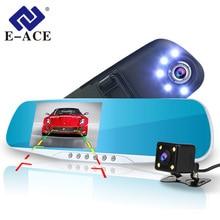 E-ACE A16 Auto Dvr Specchio Retrovisore Video Recorder 5 Luci A Led Dash Cam Dvr Con Videocamera vista posteriore Due Macchina Fotografica cancelliere Dash cam