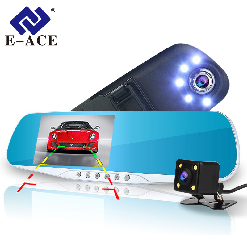 E-ACE Car Dvr Rearview Mirror Video Recorder 5 LED-lys Dash Cam DVR'er med bagside kamera To kamera Autoregistrar Dashcam