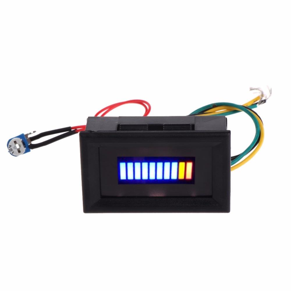 12V Universal Motorcycle Car Oil Scale Meter LED Oil Fuel Level Gauge Indicator