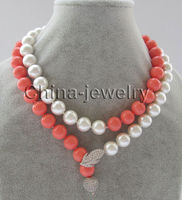 10X10 jewerly free shipping 33 12mm perfect round white pink ( coral color ) south sea shell pearl necklace