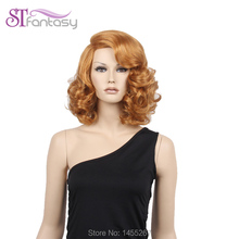 New Free Shipping  High Quality 16″  New Design Curly Golden  Synthetic Wigs For Women With  Free Cap