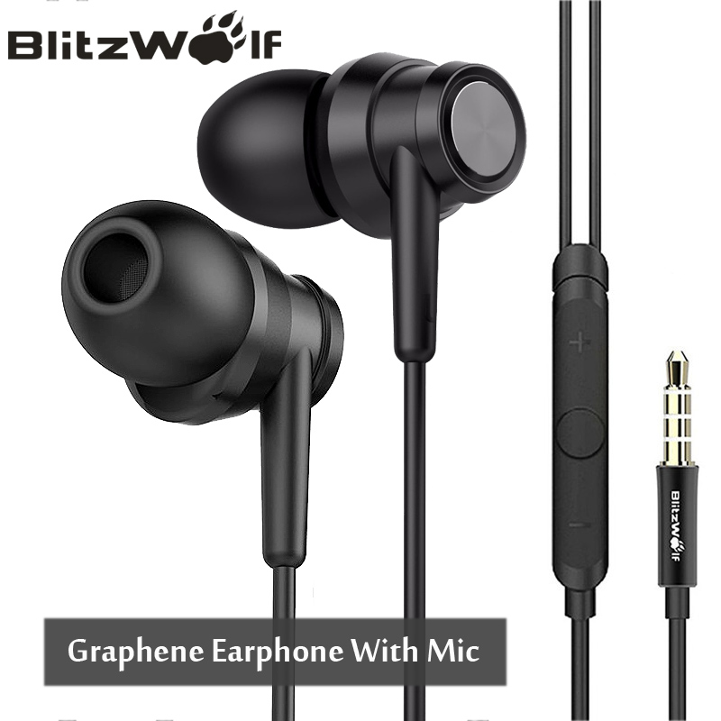 BlitzWolf BW-ES1 3.5mm In-ear Noise Cancelling Earphone Stereo Earbuds Graphene Earphones With Microphone For Mobile Phone hot sale metal earphones noise cancelling headset hands free super bass hifi stereo earphone with microphone for mobile phone