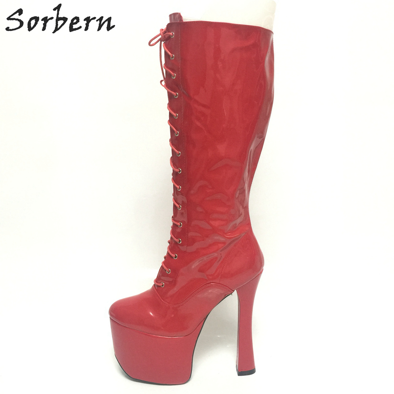 Sorbern 20Cm Red High Heel Mid Calf Boots For Women Platforms Botas Femininas Runway 2018 Candy Color Women Shoes And Boots stylish women s mid calf boots with solid color and fringe design