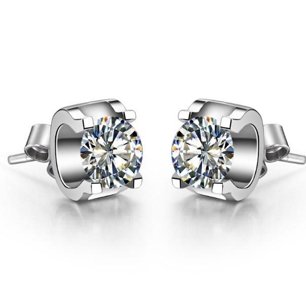 Earrings Diamond 14k Gold Wedding White Genuine-Quality SONA Bride Oxhead-Design Stud-0.5ct/Piece