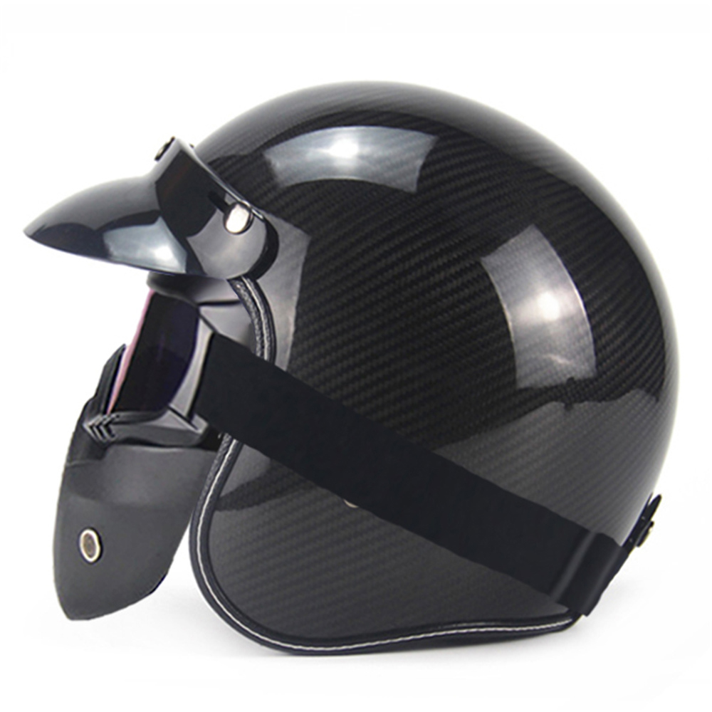 Motorcycle Helmet Carbon Fiber Vintage Retro Motorbike Cruiser Scooter Chopper Capacete 3/4 Open Face Helmet Moto Helm DOT