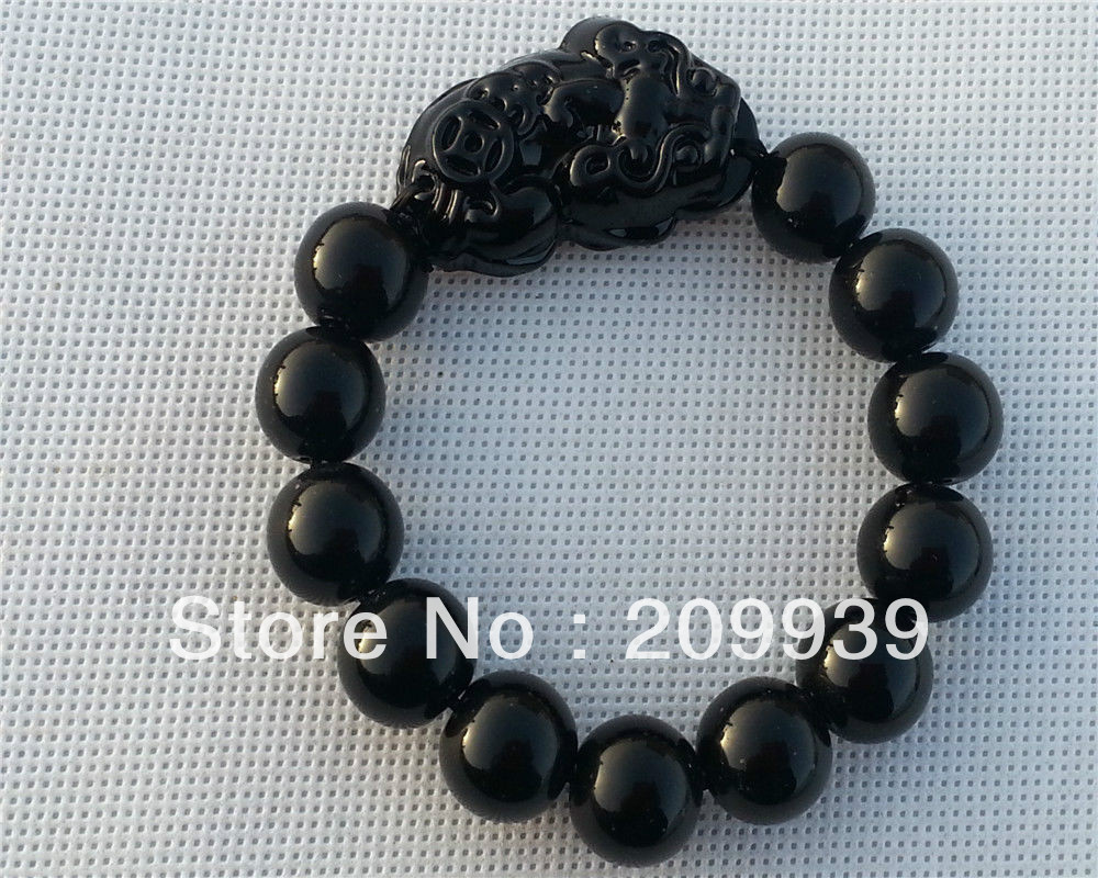 CHINESE Black JADE Bead Dragon Pi Xiu Coin Bangle Feng Shui Bracelet 236753