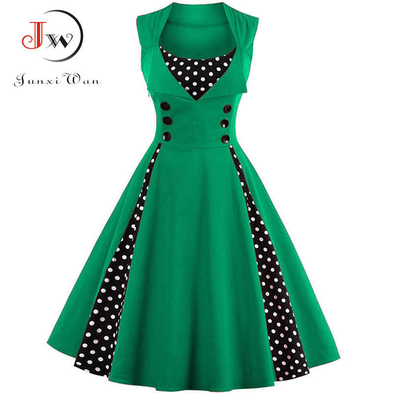 dd403338b0dcb S-4XL Women Robe Retro 2018 Vintage Dress 50s 60s Rockabilly Dot Swing Pin  Up Summer Party Dresses Elegant Tunic Vestidos Casual
