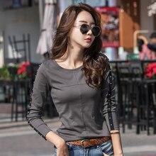 1d4ee62f3 Primavera T-shirt Para As Mulheres Tops Tees T-shirt de Algodão Manga  Comprida