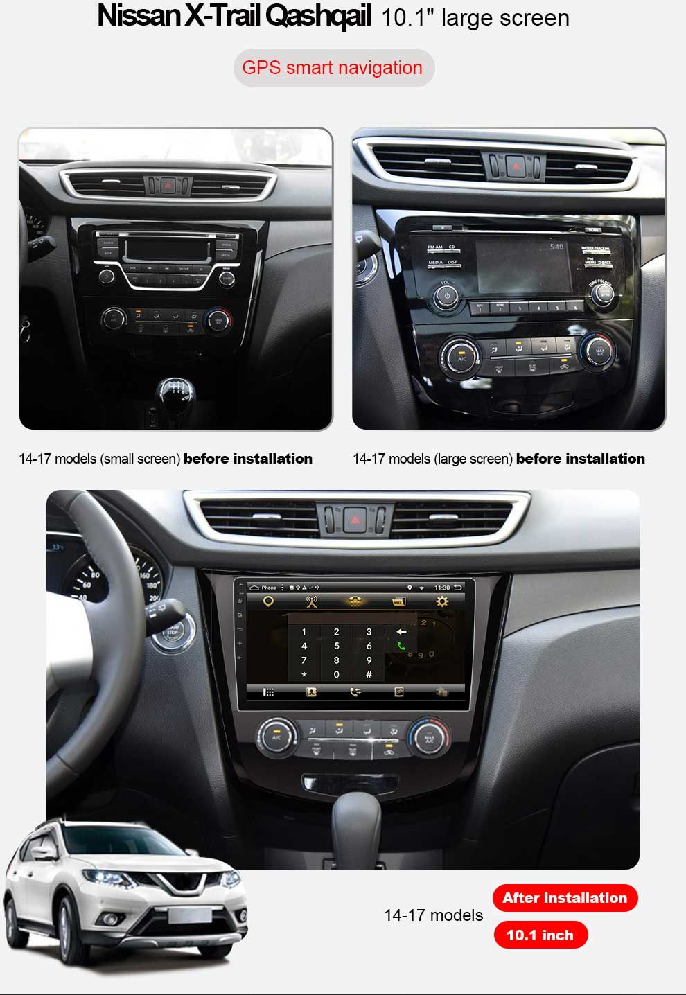 Perfect Eunavi 2 din 10.1 inch quad core Android 7.1 Multimedia Car Radio Stereo Player for Nissan Qashqai 2016 GPS Navigation Head unit 4
