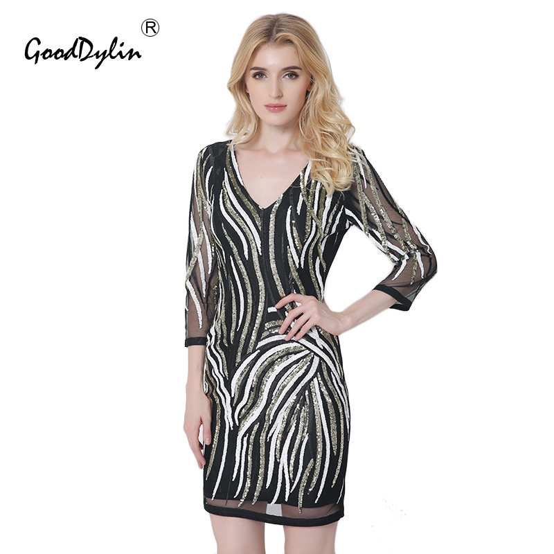 Buy Cheap Autumn Sexy Deep V Neck Women Dress Backless Club Party Bodycon Dresses Vestidos Long-Sleeved See Through Sequined Short Dress