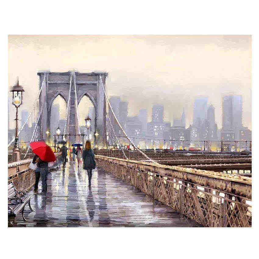 Decorative Canvas Painting By Numbers Landscape,Diy Oil Painting By Numbers City Bridge