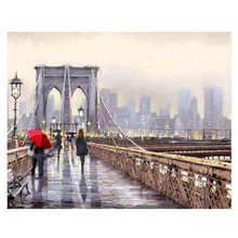 Decorative Canvas Painting By Numbers Landscape,Diy Oil City Bridge