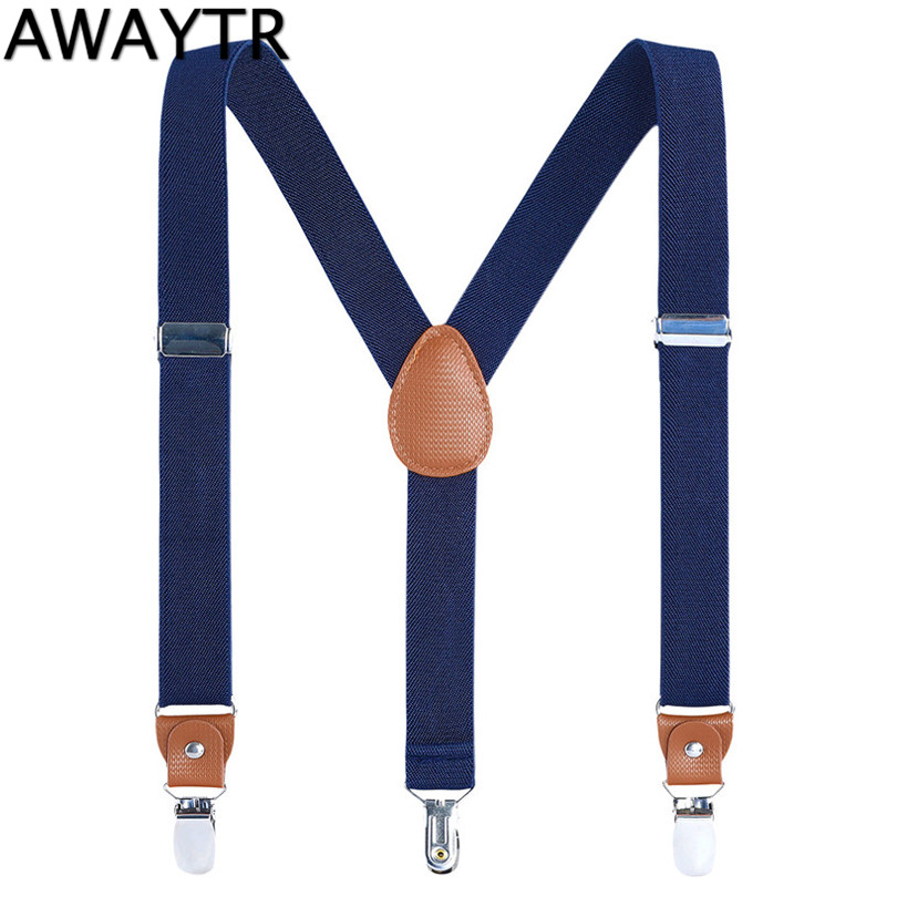 AWAYTR Baby Boys Braces Navy Black Casual Suspenders For Kids New 1 Inch 60 Cm 3 Clips Clothing Suspenders Children Gift
