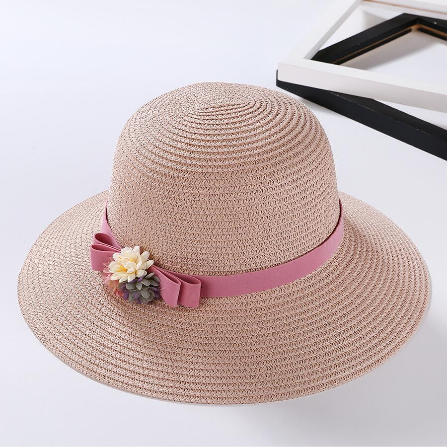 2018 Summer New Hot Fashion Female Casual Straw Simple Classic Hats Caps Women Korean Folding Flower Beach Sun Hats