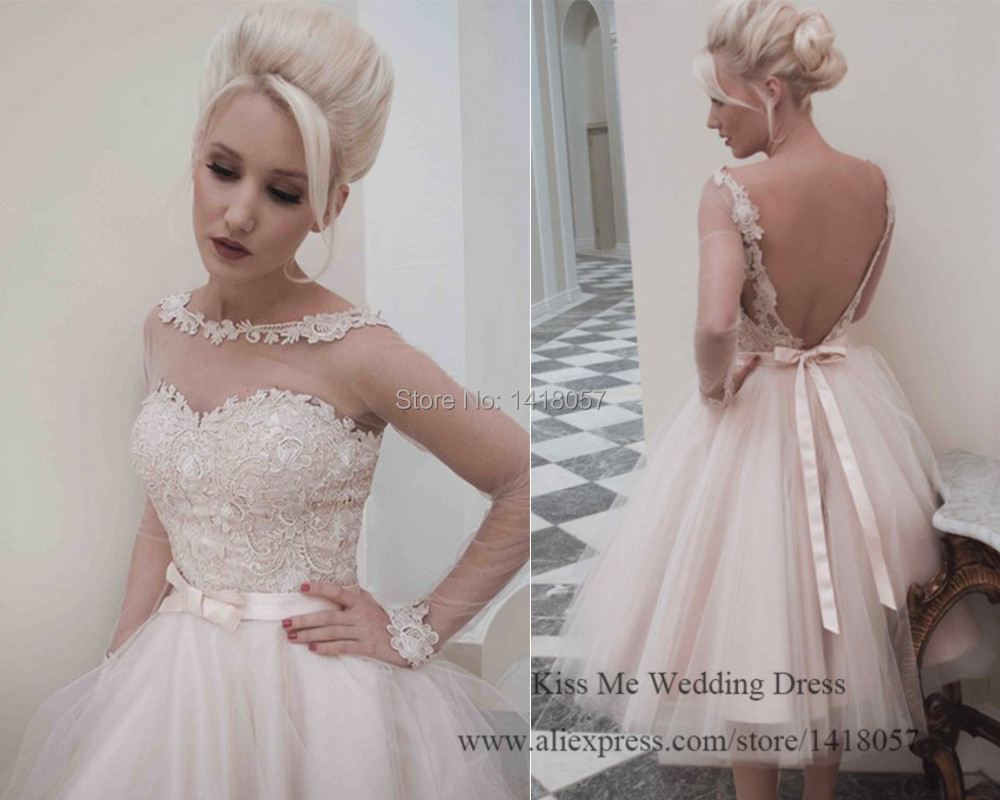 Vestido De Noiva Curto 2015 Light Pink Short Wedding Dress Lace Long Sleeve  Backless Bride Gown Tulle Sash H1008 In Wedding Dresses From Weddings U0026  Events ...