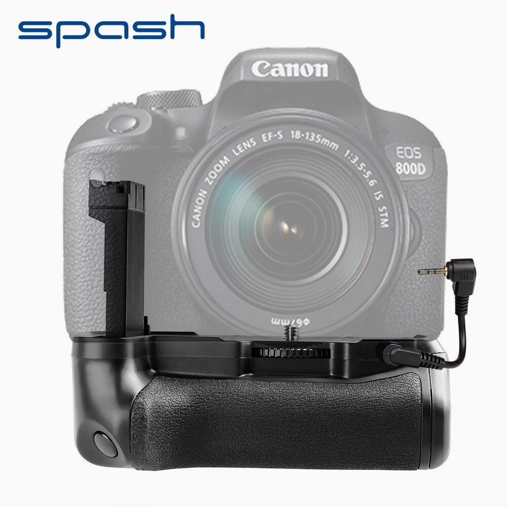 Poignée de batterie verticale multi-puissance spash pour Canon 800D rebelle T7i 77D Kiss X9i DSLR support de batterie pour appareil photo fonctionne avec LP-E
