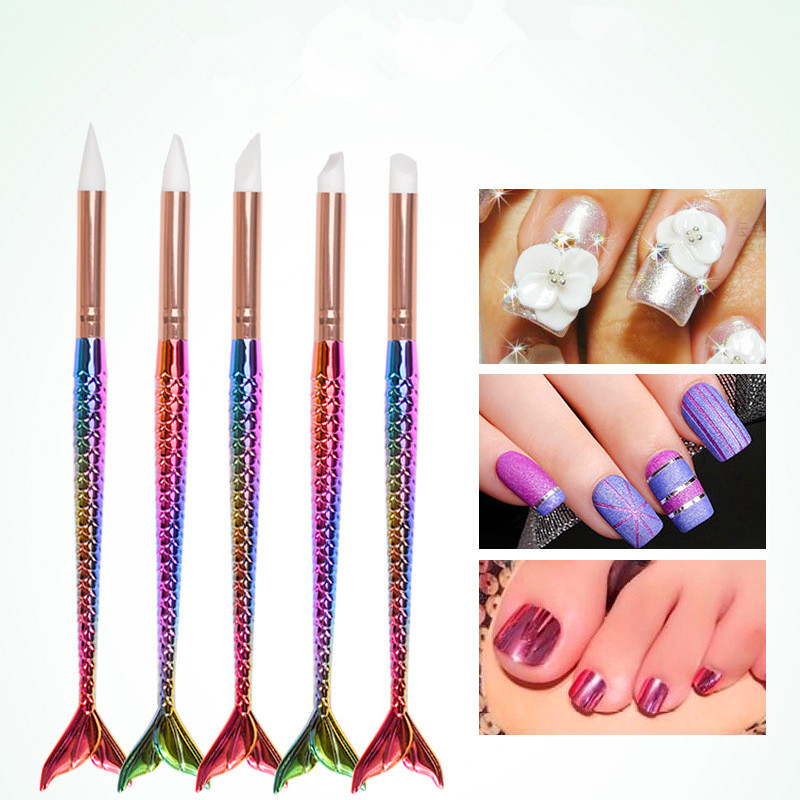 2018 New Professional Silicone Nail Art Dot Dotting Pen Sculpture Nail Brush Nail Art Tools Acrylic UV Gel Tips Carving Manicure in Dotting Tools from Beauty Health