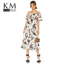 Kissmilk 2019 Women Off Shoulder Floral Print Bohemian Dresses Fashion Beach Summer Vintage Ruffle Ladies Strapless Midi Dress