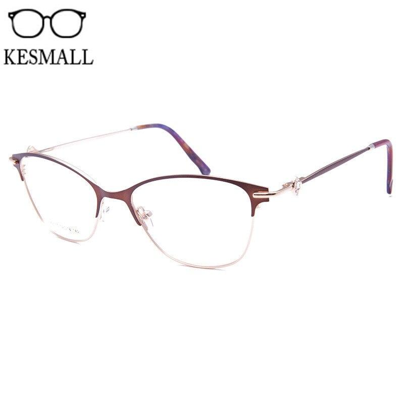 eb5b34e1b Comprar KESMALL Estilo Olho de Gato Óculos de Armação de Metal Retro  Mulheres Computador Óculos Frames Homens Óculos de Miopia Quadro de Leitura  Óptica ...