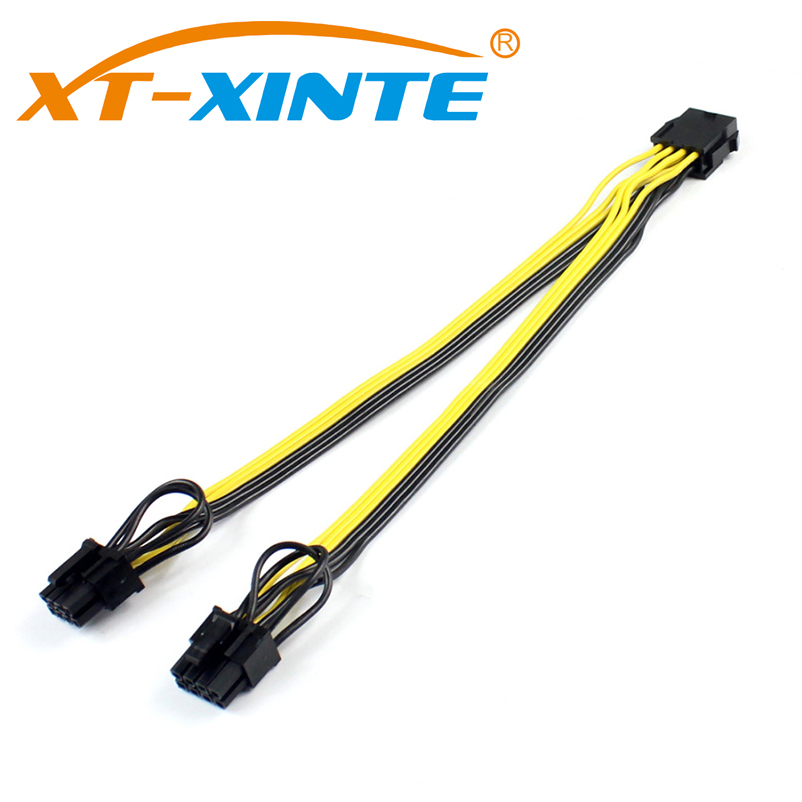 CPU 8Pin to Graphics Video Card Dual PCI-E PCIe 8Pin ( 6Pin + 2Pin ) Power Supply Splitter Cable Cord 15cm Miner Cables