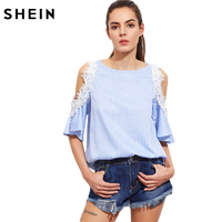 SHEIN Women Lace Applique Open Shoulder Keyhole Back Striped Top 2017 Summer Tops Half Sleeve Cold