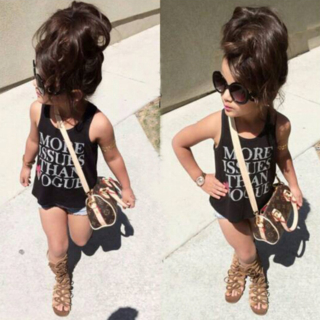 86cbc2bab677 2PCS Baby Toddler Girls Kids Clothes Summer Black Letter Vest T Shirt +  Studded Jeans Short Pants 2pcs Sets Outfits
