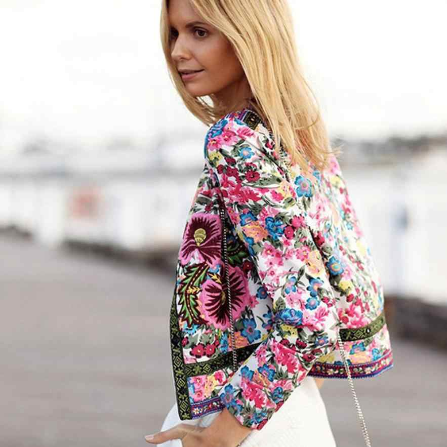 Outerwear & Coats Jackets Bridal satin Floral Printed Short Outwear Long Sleeve fashion coats and jackets women 2018JUL26