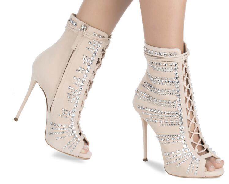 Pictures argent Bottes De Sandales Dames Robe Chaussures Stiletto Mariage Cheville Femme Bout Sestito 2018 As Luxe Strass Chaude Hauts Talons À Ouvert 4A53qcRjL