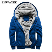 ENWAYEL Autumn Winter Casual Hoodies Men Coat With Fur Hooded Sweatshirts Zipper