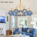 Высококачественная средиземноморская Синяя Стеклянная Люстра для гостиной  спальни  пасторальная деревня  креативная светодиодная окраше...
