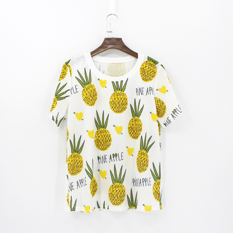 Women Pineapple Solid pink T Shirt O Neck Short Sleeve Basic Tops Female Casual T Shirt Lady Top Tees fashion mujer de moda